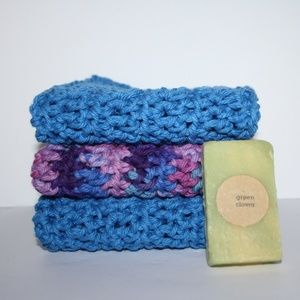 Beautiful cotton wash clothes with handmade soap